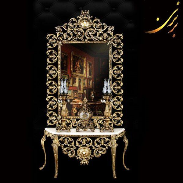 آینه کنسول آلومینیومی تمام قد با ساعت و شمعدان کد ۷۴