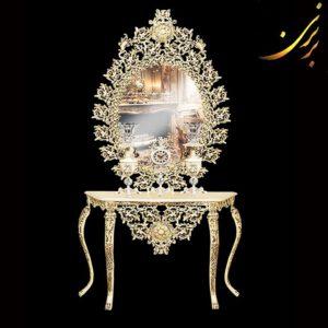 آینه کنسول با ساعت و شمعدان کد ۷۷