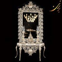 آینه کنسول تمام قد با ساعت و شمعدان آلومینیومی سفید کد ۷۲