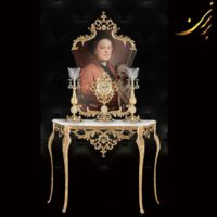 آینه کنسول ساعت شمعدان رنگ آنتیک کد ۵