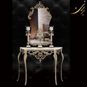 آینه کنسول ساعت شمعدان رنگ آنتیک کد ۶