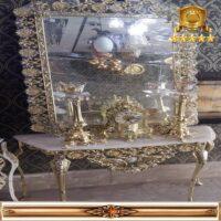 آینه کنسول طلایی مربع گل آفتاب