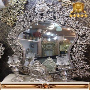 آینه کنسول محرابی نقره ای گل یاس درشت