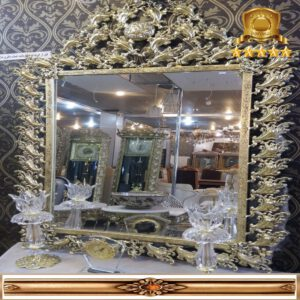 آینه کنسول مربع طلایی طرح بادمجانی