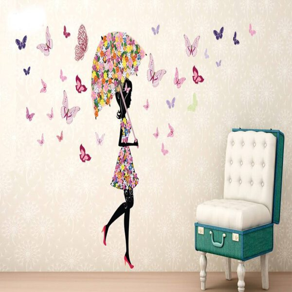 استیکر دیواری ژیوار طرح دختر پروانه ها