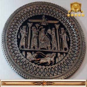 بشقاب مسی قلم زنی کار دست اصفهان کد ۳۰۶