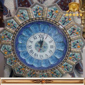 ساعت خاتم نقاشی طرح خورشیدی همراه با بشقاب مینا کاری کد ۳۰۱