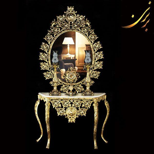ست آینه کنسول با ساعت و شمعدان طلایی آلومینیوم کد ۷۱