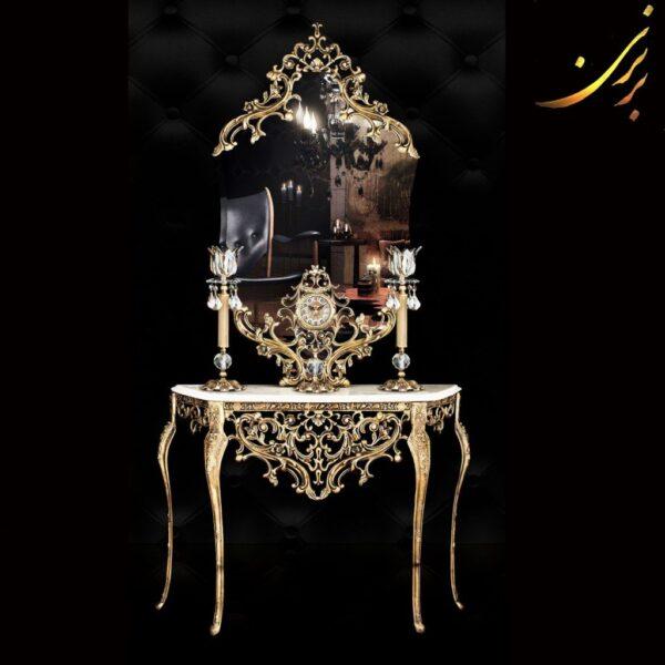 ست آینه کنسول شمعدان ساعت آلومینیومی کد ۲