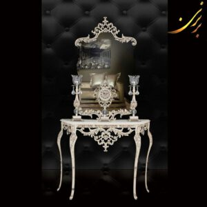 ست آینه کنسول شمعدان ساعت آلومینیومی کد ۳
