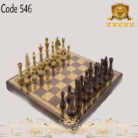 شطرنج برنجی اعلا صفحه چوبی ۵۴۶