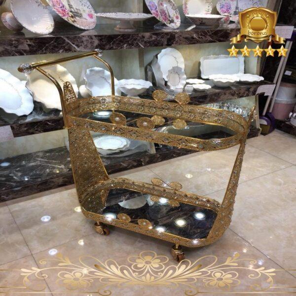 میز بار طلایی دو طبقه کوچک