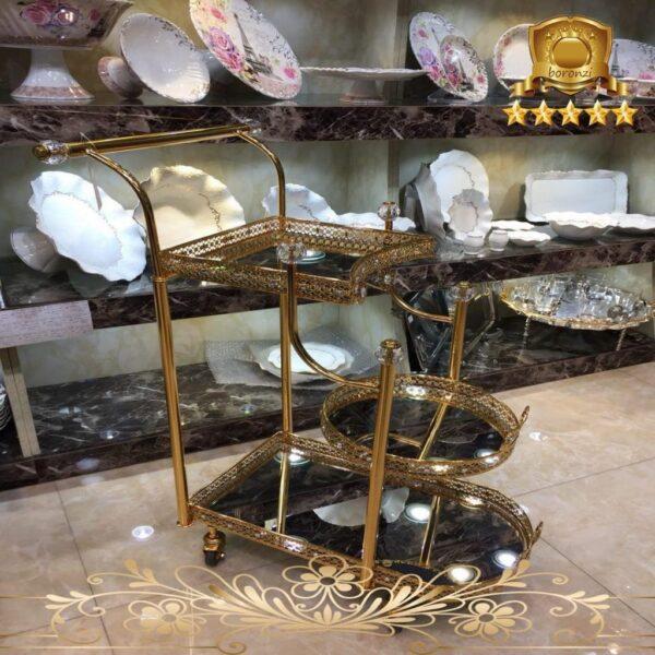 میز بار طلایی سه طبقه ۵۵ سانت