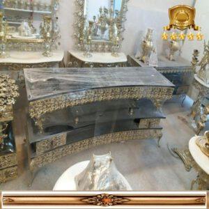میز ال سی دی خم برنزی طرح گل یاس سایز ۱۴۰