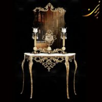 میز کنسول با آینه و ساعت شمعدان آنتیک کد ۷