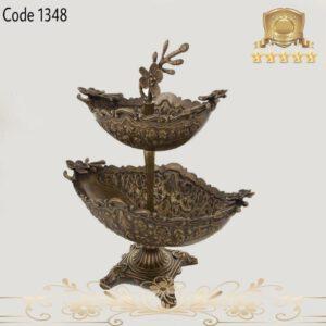 میوه خوری دوطبقه طرح گل برنجی ۱۳۴۸