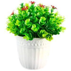 گلدان به همراه گل مصنوعی طرح شمشاد