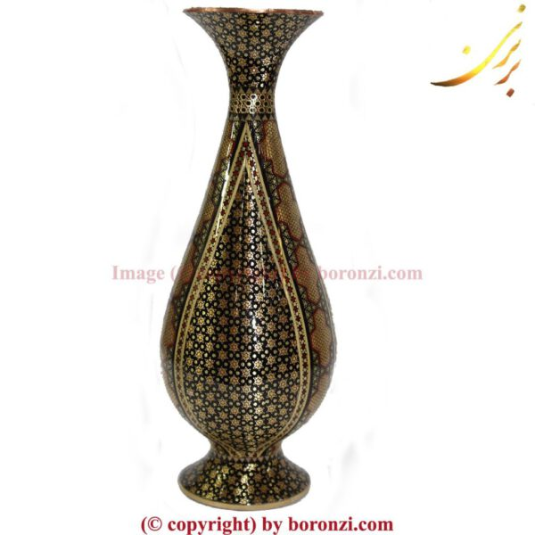 گلدان مسی خاتم کوب ۶۱۹