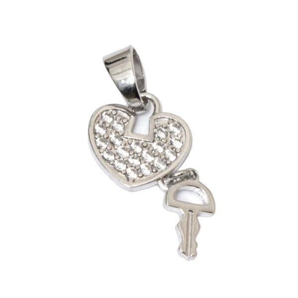 آویز گردنبند هنری ساز مدل قلب و کلید نگین دار