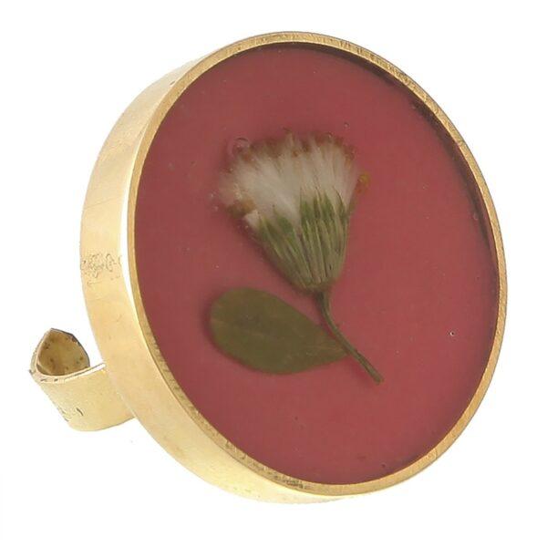 انگشتر برنجی گالری پرگل کد 187014 طرح گل پیر گیاه