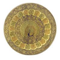بشقاب برنجی مینا کاری مدل طاووس 16