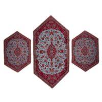 ست 3 تکه رومیزی ترمه ابریشمی حسینی طرح شاه عباسی مدل 15-05