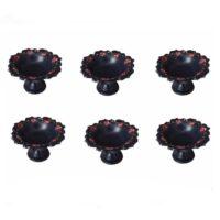 ظرف پایه دار سفالی گالری خرمالو طرح گل سرخی مجموعه 6 عددی