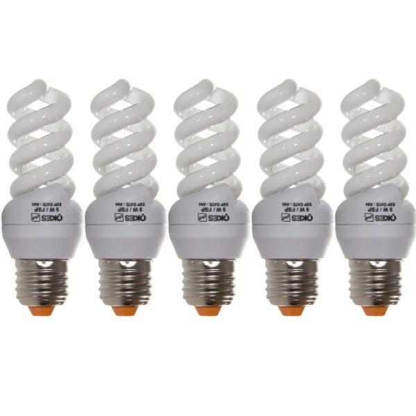 لامپ کم مصرف 9 وات اوکس مدل CFL9X5 پایه E27 بسته 5 عددی