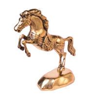 مجسمه برنزی مدل اسب روی پایه آب طلاکاری
