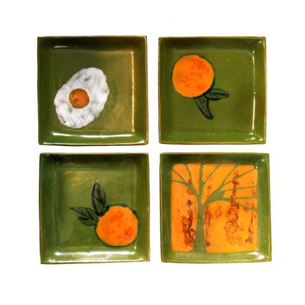 پیش دستی سفال مربع سبزو نارنجی 20 MSF58