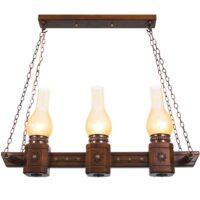 چراغ آویز دارکار مدل روستیک 3 شعله خطی کد 125