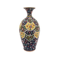گلدان میناکاری لوح هنر طرح لعاب برجسته کد 627