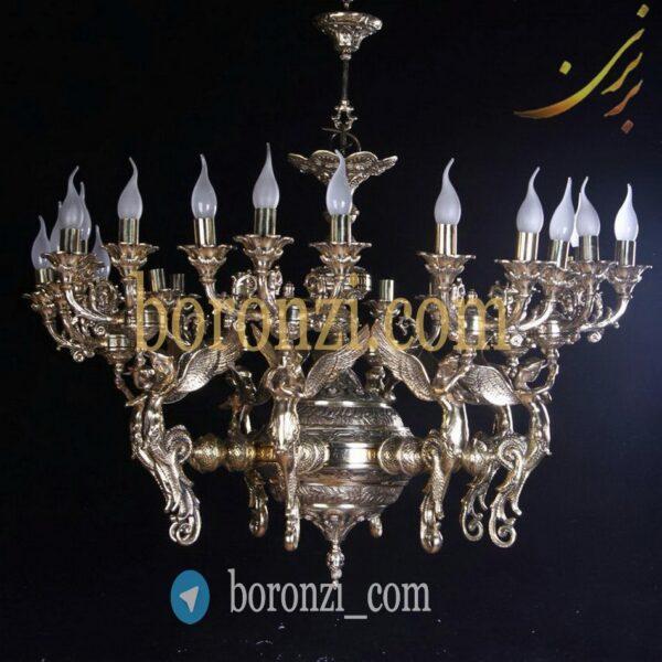لوستر برنزی طرح فرشته سه لامپ