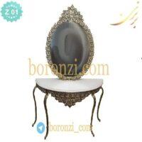 آینه کنسول برنزی مدل یاس سایز بزرگ همراه با جفت شمعدان جنس برنج عرض 90 ارتفاع 210