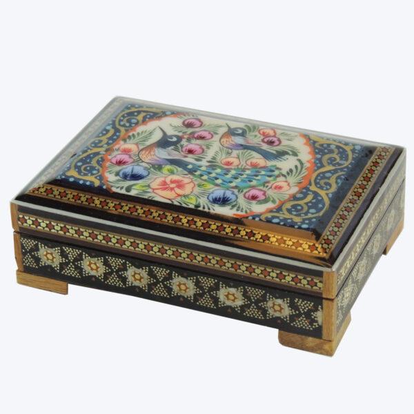 جعبه جواهر خاتم کاری طرح گل و مرغ