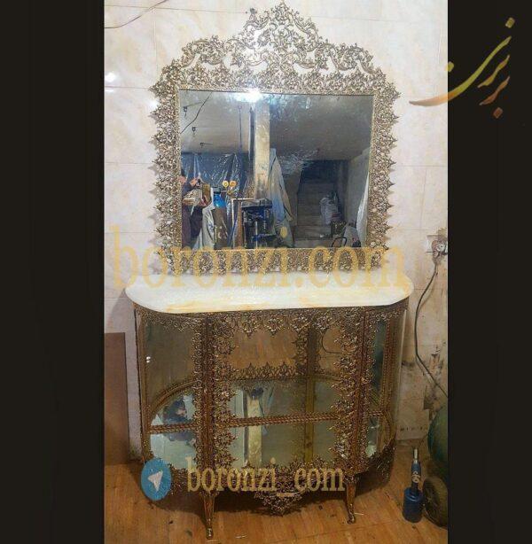 آینه و بوفه برنزی مدل اسلیمی قوس