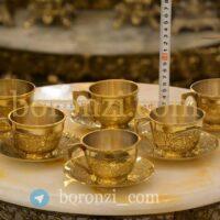 فنجان نعلبکی برنجی هندی طلایی قلم