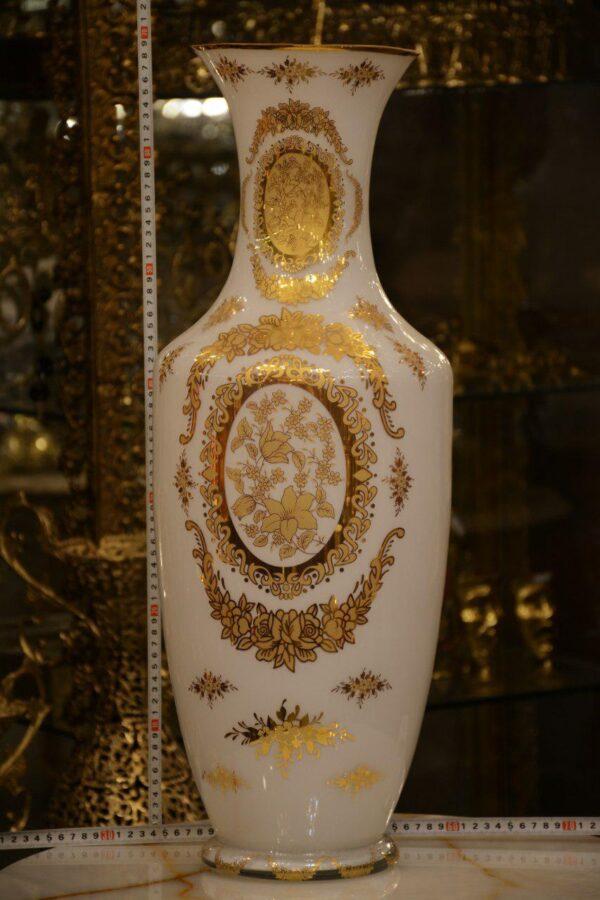 گلدان طلاکوب 70 سانت سفید یک رو