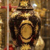 گلدان طلاکوب 50 سانت قرمز طرح عرب