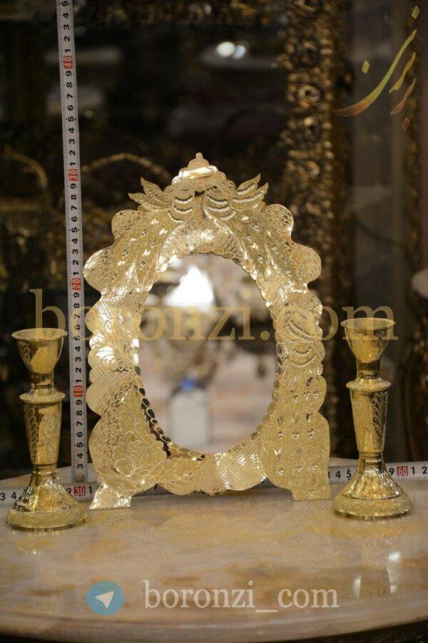 آینه و شمعدان برنجی طرح 3
