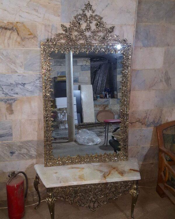 آینه کنسول تمام قد برنزی گل رز