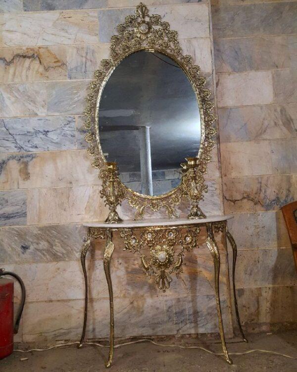 آینه کنسول بیضی برنزی گل رز با شمعدان