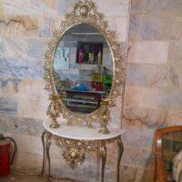 آینه کنسول بیضی برنزی گل آفتابگردان با شمعدان