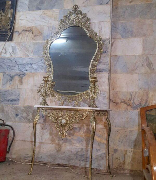 آینه کنسول محرابی برنزی گل رز با شمعدان