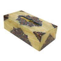 جعبه دستمال کاغذی سنگ مرمر طرح تذهیب فرشی کد 2302211