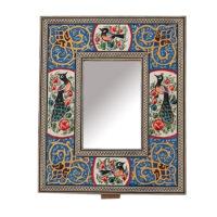 قاب آینه خاتم کاری مدل گل و مرغ کد 813