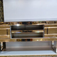 میز تلویزیون آینه ای طلایی