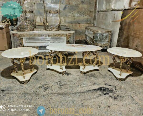 میز جلومبلی با دو عسلی برنزی طرح سنگ فرشته