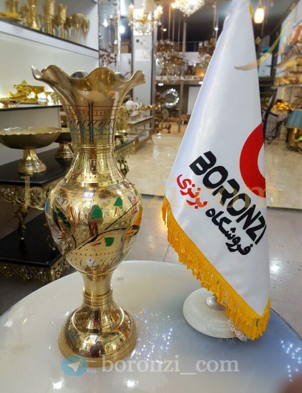 گلدان برنجی هندی لب هلالی