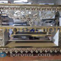 میز تلویزیون برنزی طرح 7 طاووس ورق طلایی